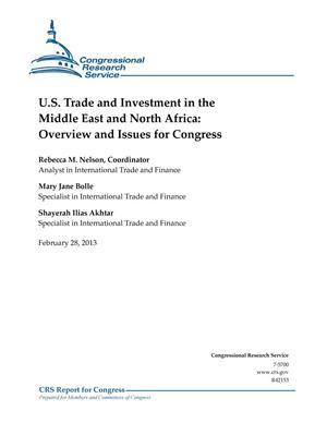 Primary view of object titled 'U.S. Trade and Investment in the Middle East and North Africa: Overview and Issues for Congress'.