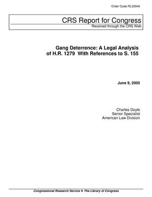 Primary view of object titled 'Gang Deterrence: A Legal Analysis of H.R. 1279 With References to S. 155'.