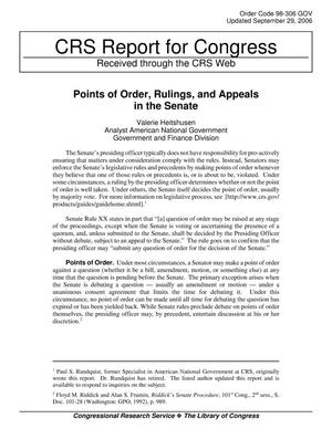 Primary view of object titled 'Points of Order, Rulings, and Appeals in the Senate'.