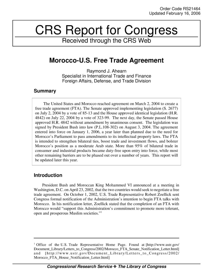 Morocco Us Free Trade Agreement Digital Library
