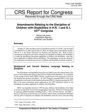 Primary view of object titled 'Amendments Relating to the Discipline of Children with Disabilities in H.R. 1 and S.1, 107th Congress'.
