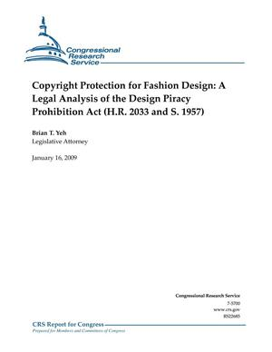 Primary view of object titled 'Copyright Protection for Fashion Design: A Legal Analysis of the Design Piracy Prohibition Act (H.R. 2033 and S. 1957)'.