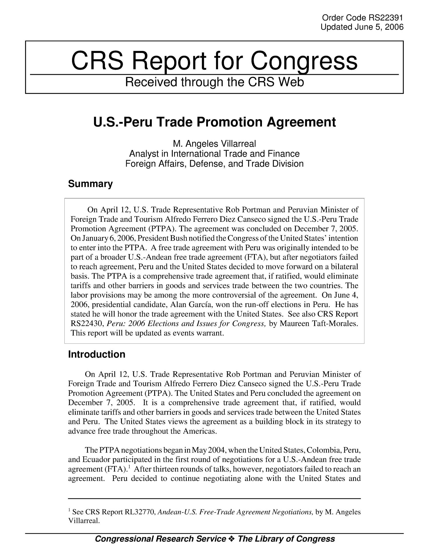 Us Peru Trade Promotion Agreement Digital Library
