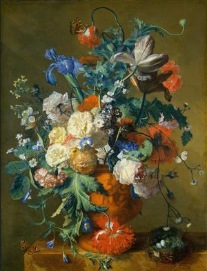 Primary view of object titled 'Flowers in an Urn'.