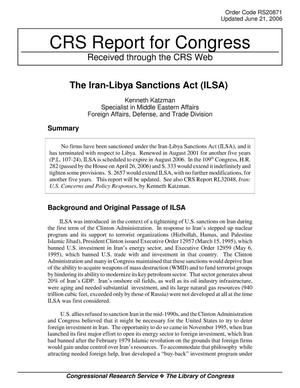 Primary view of object titled 'The Iran-Libya Sanctions Act (ILSA)'.