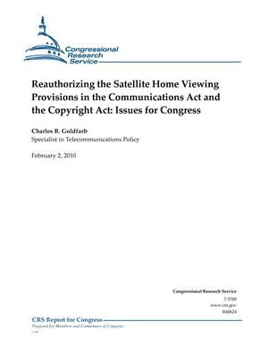 Primary view of object titled 'Reauthorizing the Satellite Home Viewing Provisions in the Communications Act and the Copyright Act: Issues for Congress'.