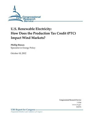 Primary view of object titled 'U.S. Renewable Electricity: How Does the Production Tax Credit (PTC) Impact Wind Markets?'.