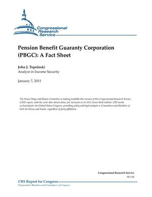 Primary view of object titled 'Pension Benefit Guaranty Corporation (PBGC): A Fact Sheet'.