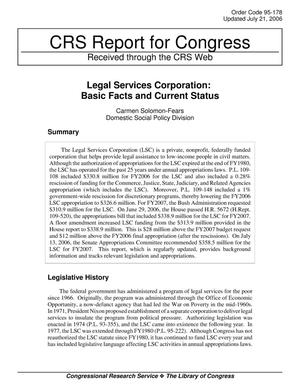 Primary view of object titled 'Legal Services Corporation: Basic Facts and Current Status'.