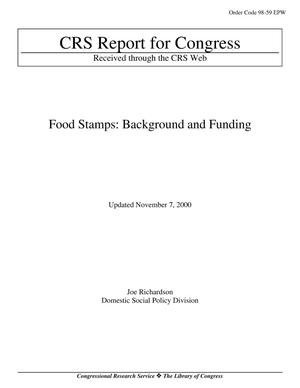Primary view of object titled 'FOOD STAMPS: BACKGROUND AND FUNDING'.