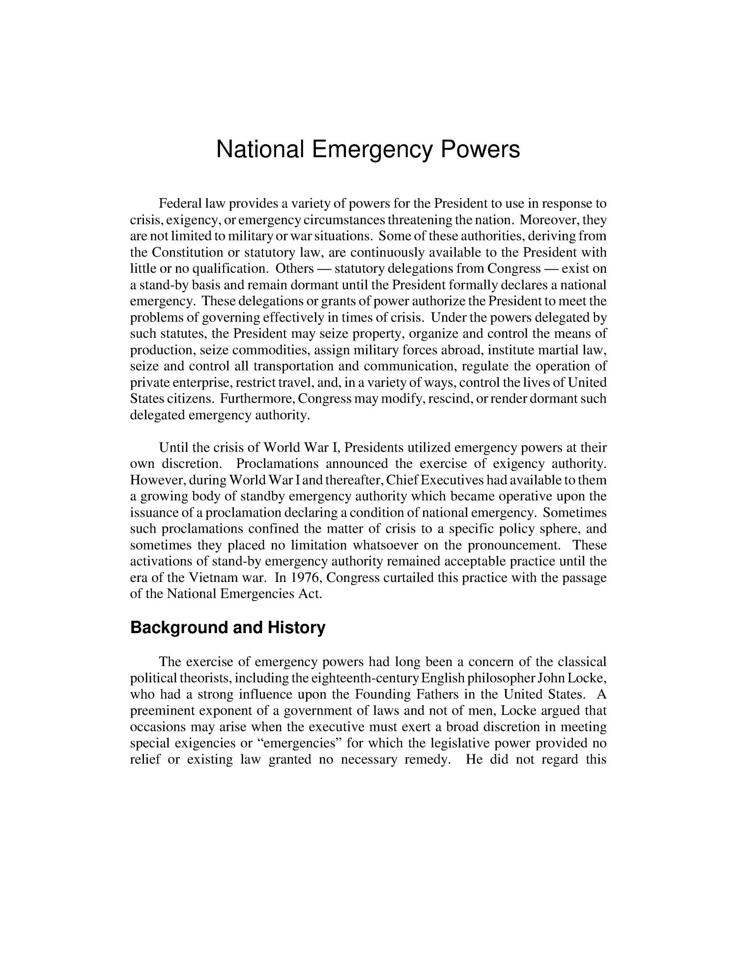 National Emergency Powers                                                                                                      [Sequence #]: 4 of 25