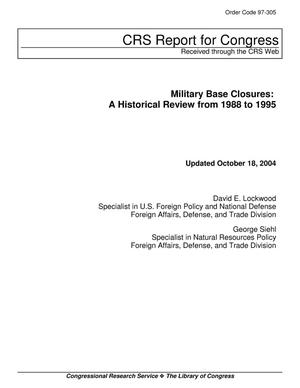 Primary view of object titled 'Military Base Closures: A Historical Review from 1988 to 1995'.