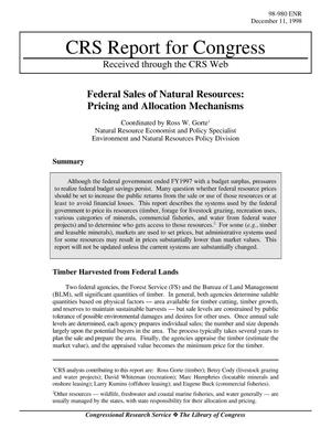 Primary view of object titled 'FEDERAL SALES OF NATURAL RESOURCES: PRICING AND ALLOCATION MECHANISMS'.