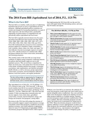 Primary view of object titled 'The 2014 Farm Bill (Agricultural Act of 2014, P.L. 113-79)'.