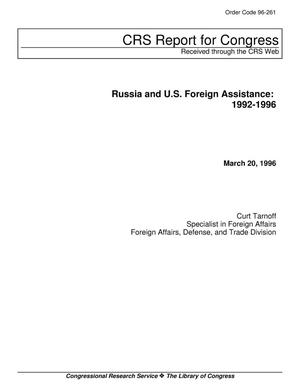 Primary view of object titled 'Russia and U.S. Foreign Assistance: 1992-1996'.