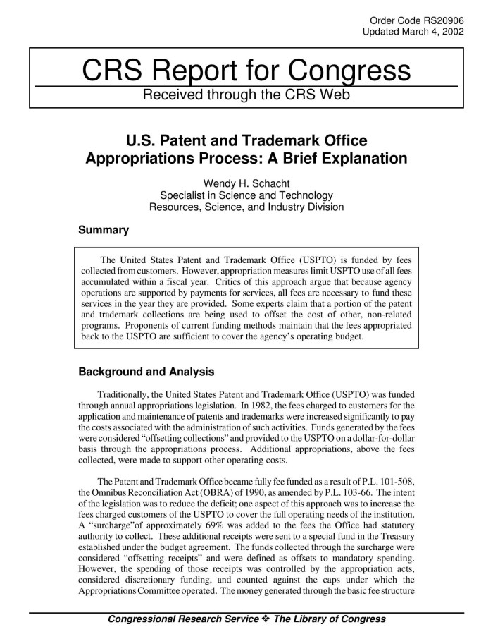 Read e-book U S  Patent and Trademark Office Appropriations