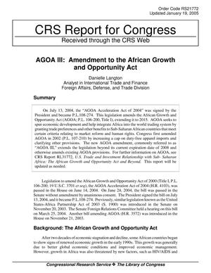 Primary view of object titled 'AGOA III: Amendment to the African Growth and Opportunity Act'.