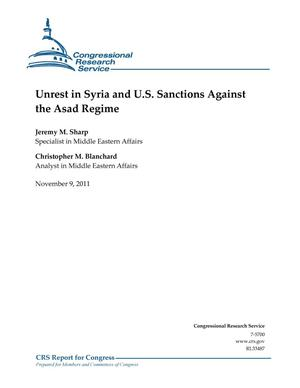 Primary view of object titled 'Unrest in Syria and U.S. Sanctions Against the Asad Regime'.