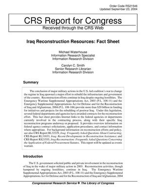 Primary view of object titled 'Iraq Reconstruction Resources: Fact Sheet'.