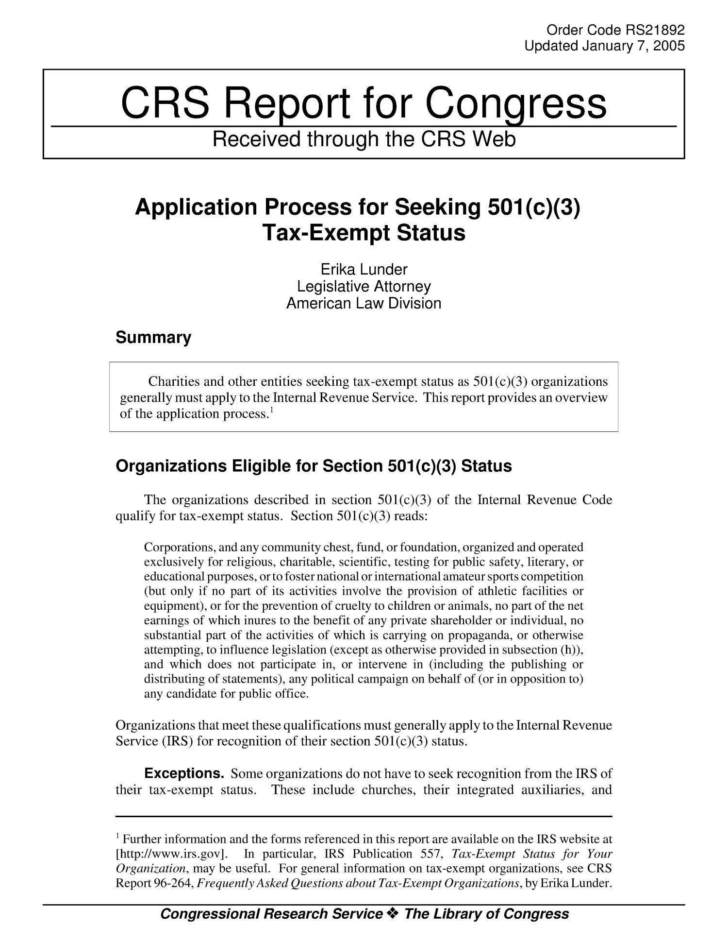 Application Process for Seeking 501(c)(3) Tax-Exempt Status ...