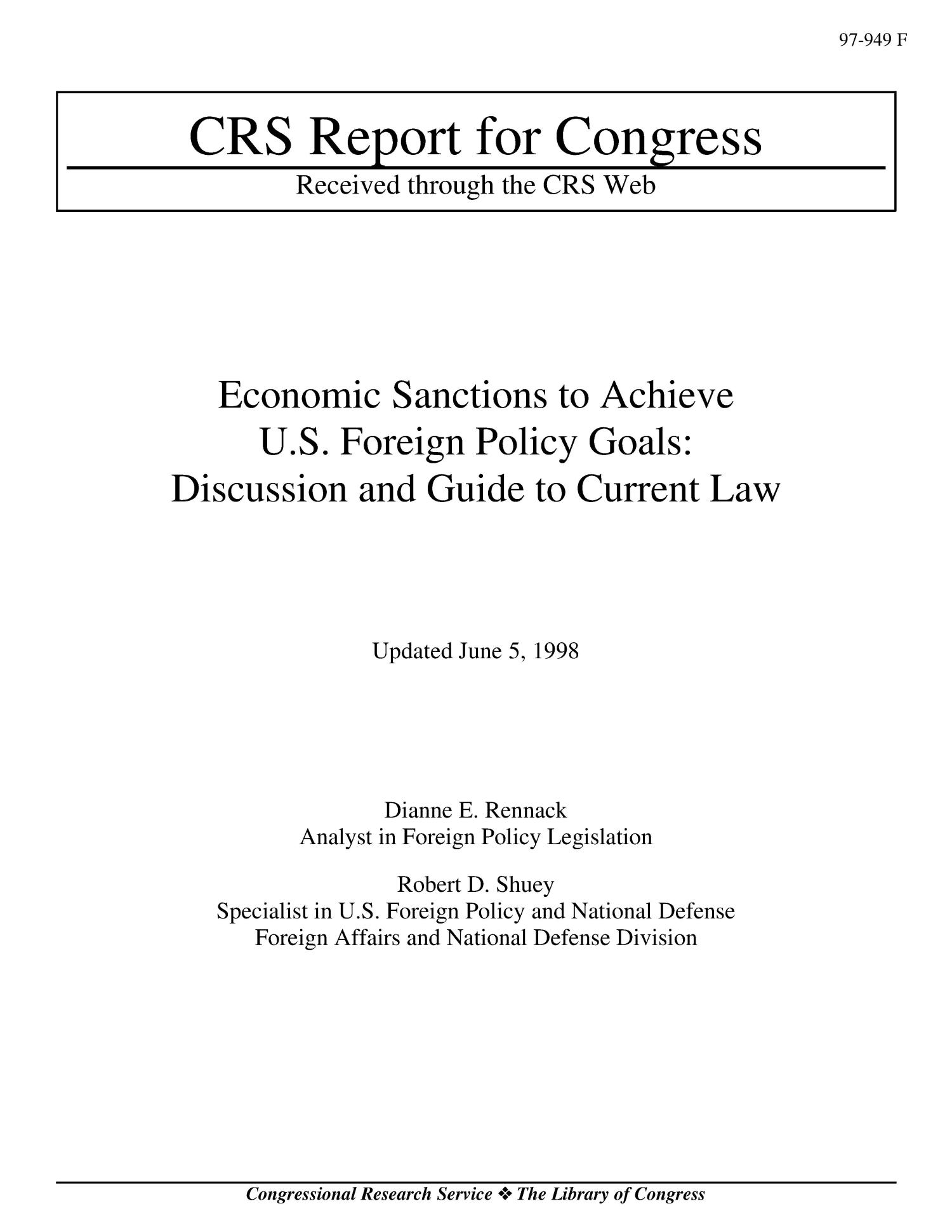 Economic Sanctions To Achieve Us Foreign Policy Goals Discussion Current Law And Guide Digital Library