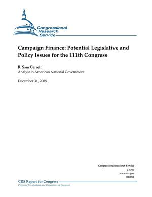 Primary view of object titled 'Campaign Finance: Potential Legislative and Policy Issues for the 111th Congress'.