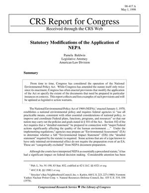 Primary view of object titled 'Statutory Modifications of the Application of NEPA'.