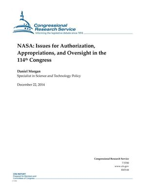 Primary view of object titled 'NASA: Issues for Authorization, Appropriations, and Oversight in the 114th Congress'.