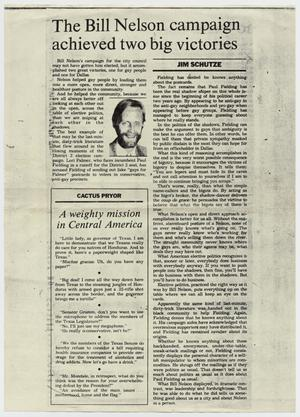 Primary view of object titled '[A photocopy of a newspaper:The Bill Nelson campaign achieved two big victories]'.