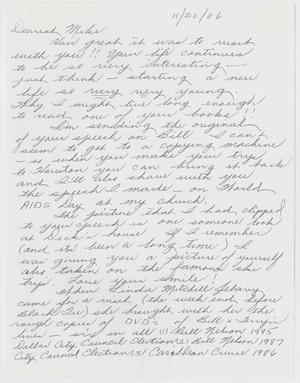 Primary view of object titled '[Handwritten Letter: From Jean to Mike]'.