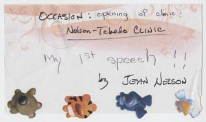 Primary view of object titled '[Speech: Nelson-Tebedo Clinic Opening]'.