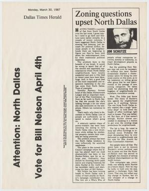 Primary view of object titled '[Newspaper Article: Zoning questions upset North Dallas]'.