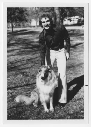Primary view of object titled '[Bill Nelson with rough collie]'.