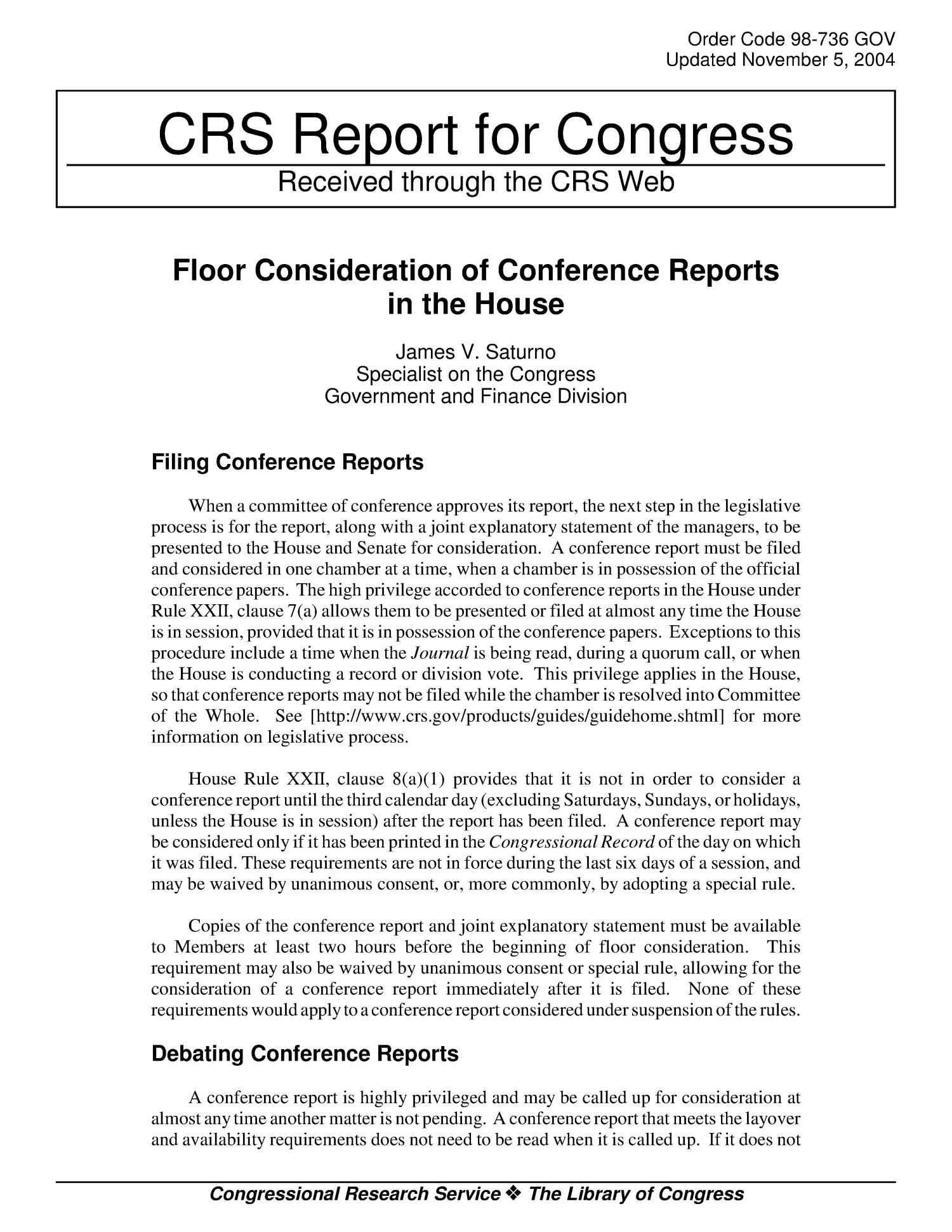 Floor Consideration Of Conference Reports In The House Unt