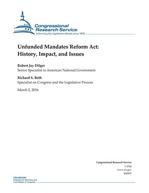Primary view of object titled 'Unfunded Mandates Reform Act: History, Impact, and Issues'.