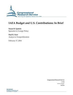 Primary view of object titled 'IAEA Budget and U.S. Contributions: In Brief'.