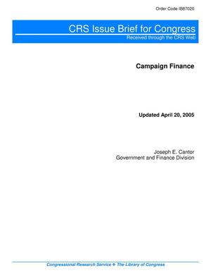 Primary view of object titled 'Campaign Finance'.