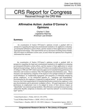 Primary view of object titled 'Affirmative Action: Justice O'Connor's Opinions'.