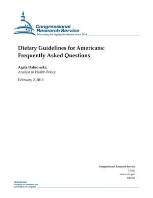 Primary view of object titled 'Dietary Guidelines for Americans: Frequently Asked Questions'.