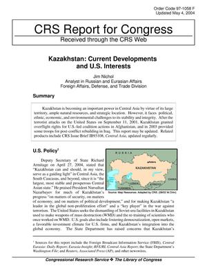 Primary view of object titled 'Kazakhstan: Current Developments and U.S. Interests'.