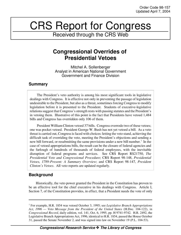 Congressional Overrides Of Presidential Vetoes Digital Library