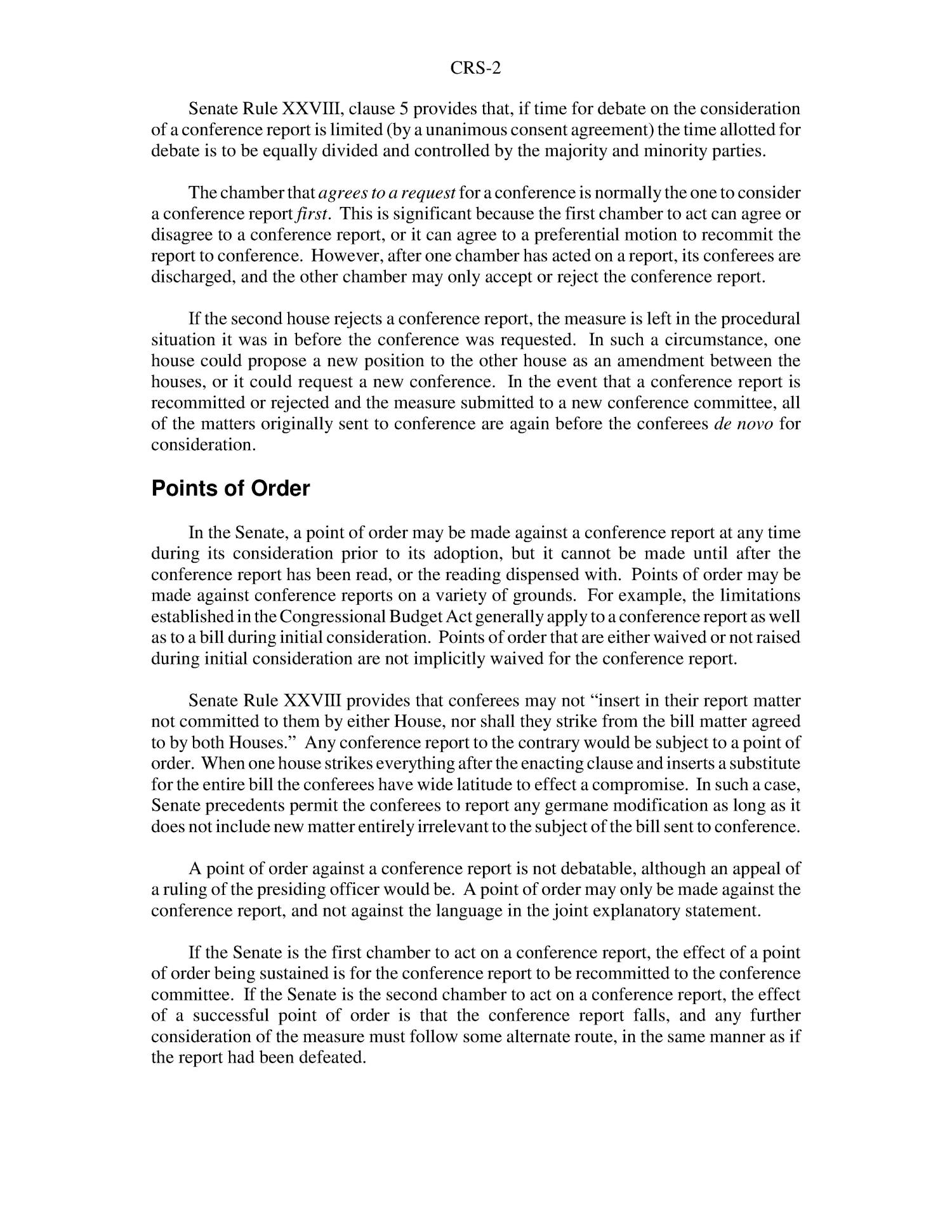 Floor Consideration Of Conference Reports In The Senate Page 2