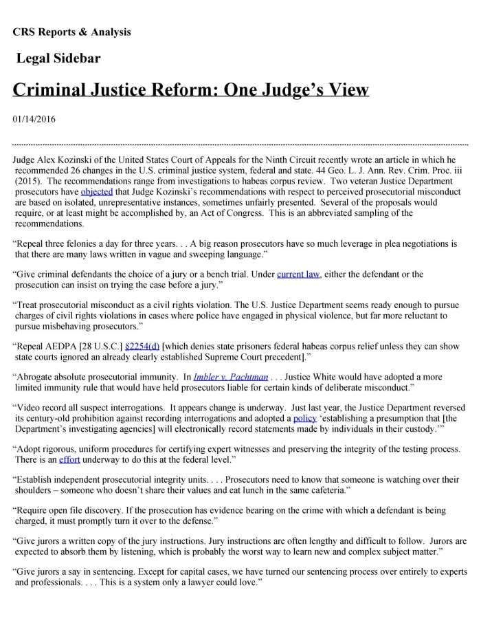 Criminal Justice Reform One Judges View Digital Library