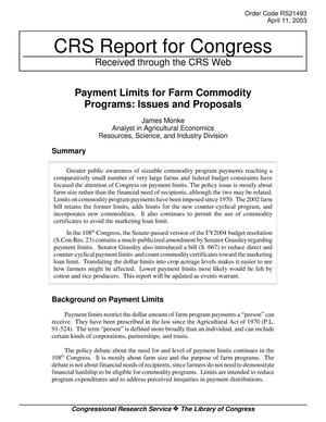 Primary view of object titled 'Payment Limits for Farm Commodity Programs: Issues and Proposals'.