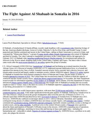 Primary view of object titled 'The Fight Against Al Shabaab in Somalia in 2016'.