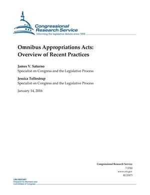 Primary view of object titled 'Omnibus Appropriations Acts: Overview of Recent Practices'.