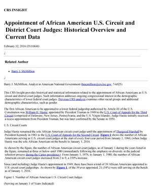 Primary view of object titled 'Appointment of African American U.S. Circuit and District Court Judges: Historical Overview and Current Data'.