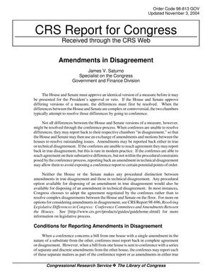 Primary view of object titled 'Amendments in Disagreement'.