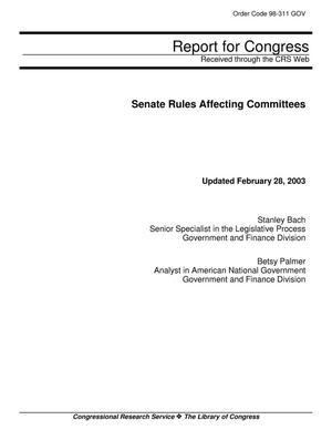 Primary view of object titled 'Senate Rules Affecting Committees'.