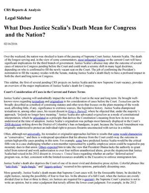 Primary view of object titled 'What Does Justice Scalia's Death Mean for Congress and the Nation?'.